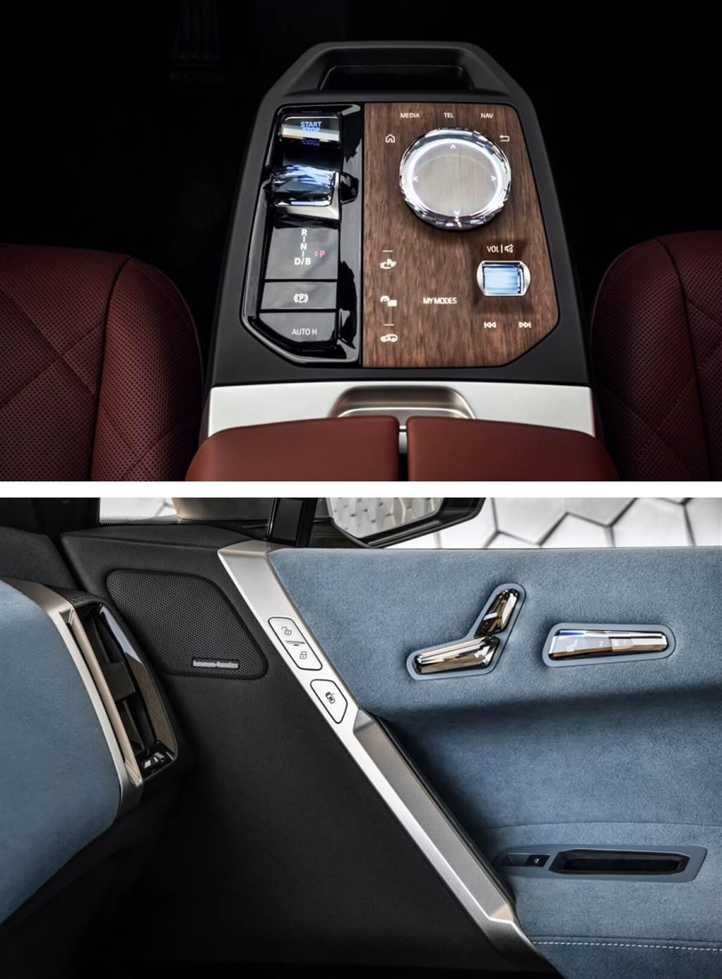 內門板佈局採用獨特的對角線分割,使用不同的顏色和材料。門把手已巧妙地集成到對角線飾條中,該飾條中還裝有用於啟動電動門開啟功能的按鈕。用於調節座椅位置的按鈕則位於前門肩部的頂部,以人體工程學圖示座椅形式順序排列,用於記憶位置的按鈕面板則直接位於旁邊。另外,乘客側扶手還裝有一個用於存放手機的隔間,而車內完全看不到音響揚聲器,其隱藏在門板織物裝飾之下,以及首次集成到座椅之中。