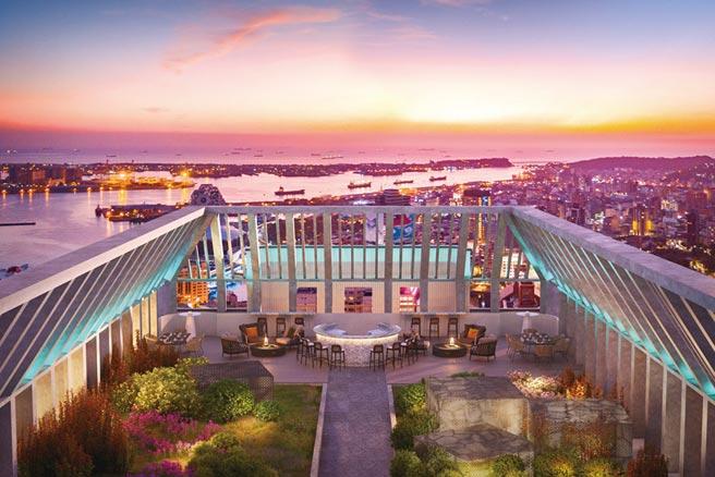 地王之王輕豪宅 「聯上鉑金」享千億建設居家擁景入廳;圖為建案空中花園景觀3D模擬。圖/業者提供
