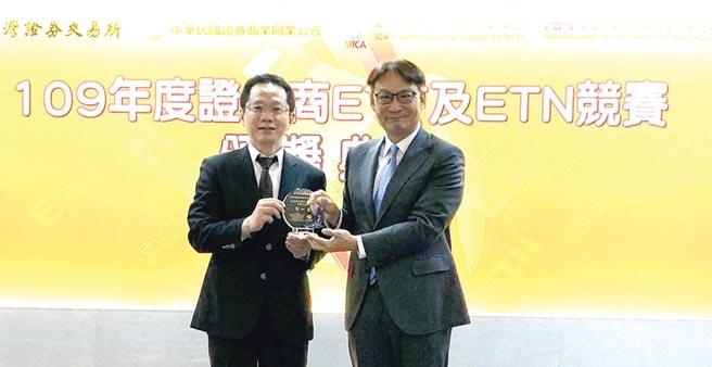 凱基證券ETF及ETN競賽年年得獎,由副總呂穎彰(右)代表領獎。圖/凱基證提供