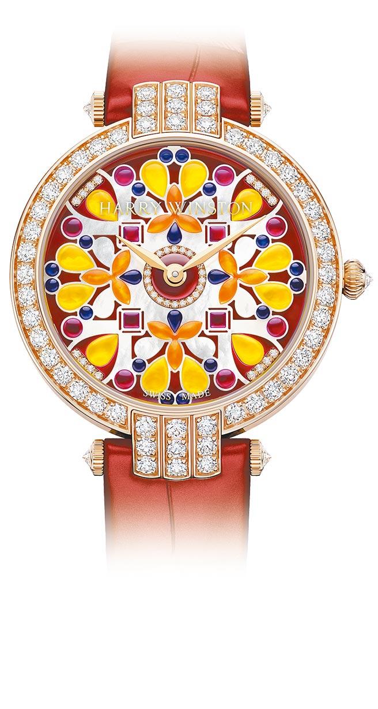 海瑞溫斯頓以萬花筒為靈感打造的卓時Premier系列Precious Kaleidoscope腕表,133萬元。(海瑞溫斯頓提供)