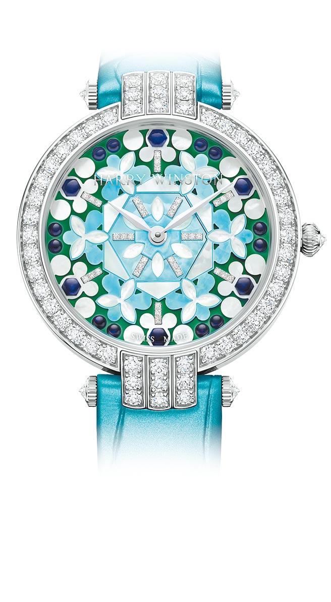 海瑞溫斯頓以萬花筒為靈感打造的卓時Premier系列Precious Kaleidoscope腕表,137萬元。(海瑞溫斯頓提供)
