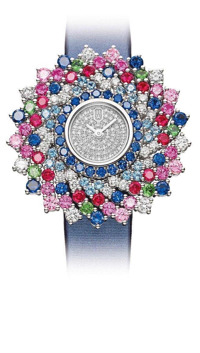 海瑞溫斯頓萬花筒Kaleidoscope頂級珠寶表,412萬元。(海瑞溫斯頓提供)