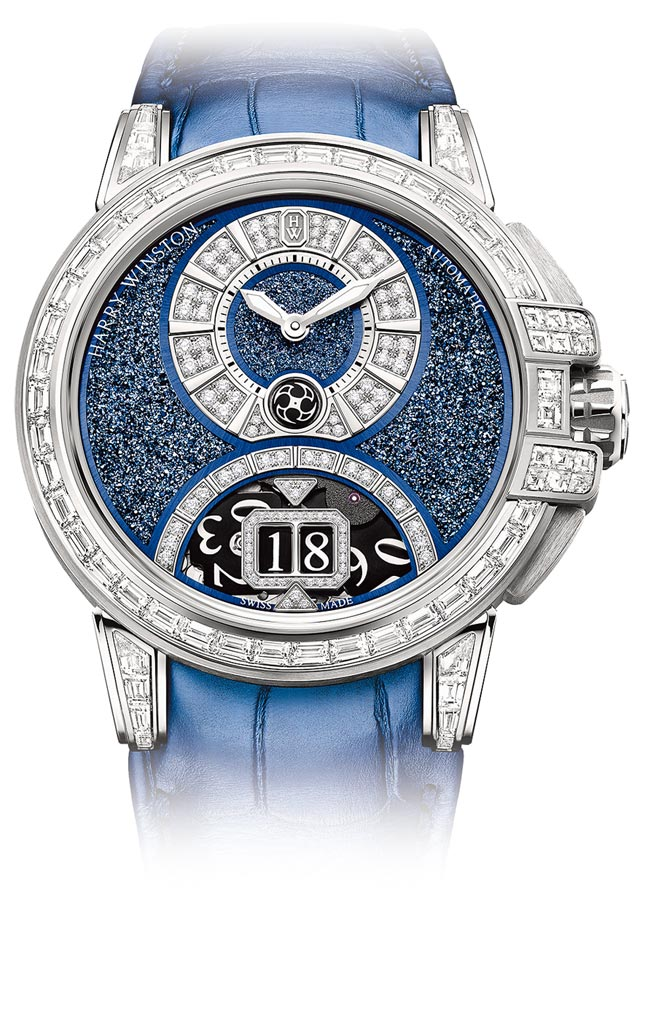 海瑞溫斯頓Ocean系列Sparkling大日期顯示腕表,表盤為藍色釕晶,418萬元。(海瑞溫斯頓提供)