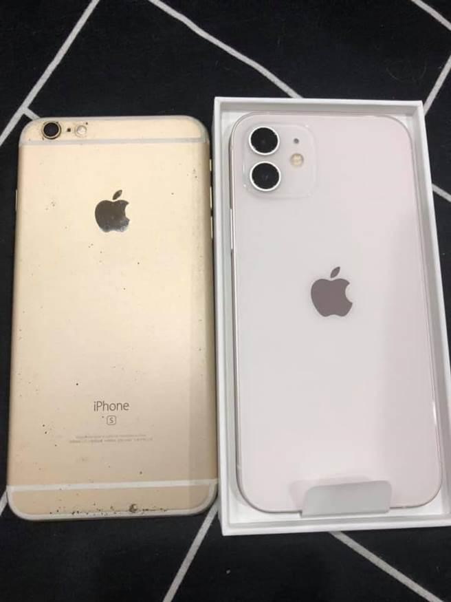人夫下定決心購入iPhone 12,本要將iPhone 6退休,卻在洗完澡後,新機被老婆接手。(圖/翻攝自爆廢2公社)