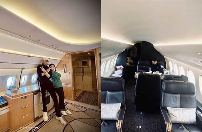 黃子韜多次曬私人飛機,內裝豪華,他也常帶工作人員搭機並拍照分享。(取材自黃子韜IG)