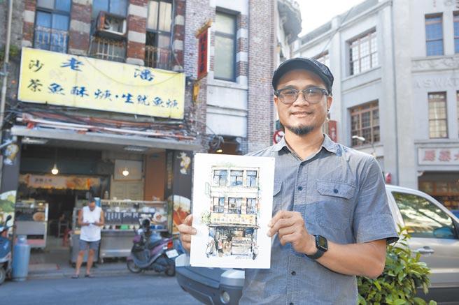 畫家鄭開翔勤跑台灣街頭,留下屬於庶民的溫馨記憶。(張鎧乙攝)