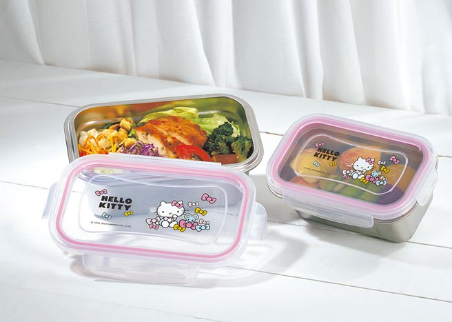 單筆滿2000元-Hello Kitty不鏽鋼保鮮盒2入組。(SOGO提供)