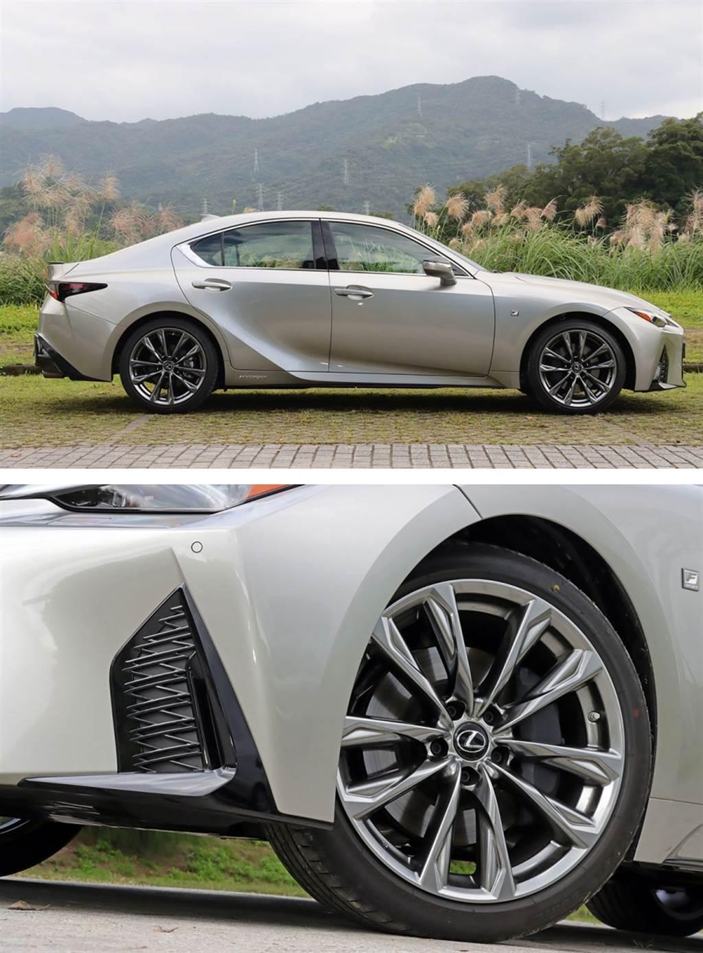 為了達到最貼地的效果, F SPORT 的 19 吋鋁圈採用前後配輪胎:前 235/40 R19、後 265/35 R19。