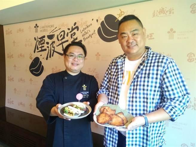 (金之園負責人范家豪(右)宣布與煙波大飯店攜手合作,從12月1日起推出獨家刈包。圖/業者提供)