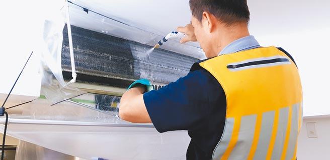 呼叫黃背心的分離式空調清潔服務,會有以高溫蒸氣,以及醫療級藥水的雙重消毒。(呼叫黃背心提供)