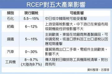 RCEP成形急應變 王美花:石化、紡織影響較大