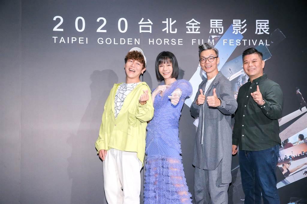 《男兒王》編劇賴宇涵、演員張承喜、李國煌、導演王國燊接受媒體訪問。(羅永銘攝)
