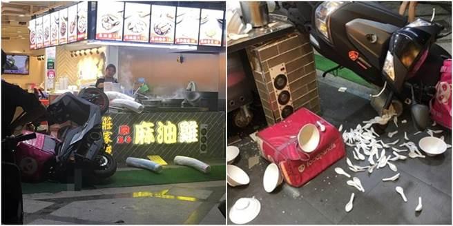 昨北市萬華傳一名外送員疑似催油門,整個騎上店家的料理台,造成現場一片狼藉。(圖/翻攝自UberEATS台灣)