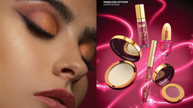 今年聖誕節PUPA推出「Sparkling Attitude璀璨流金」限定系列,全系列以「金色」和「勃根地紅」為主題。(圖/品牌提供)