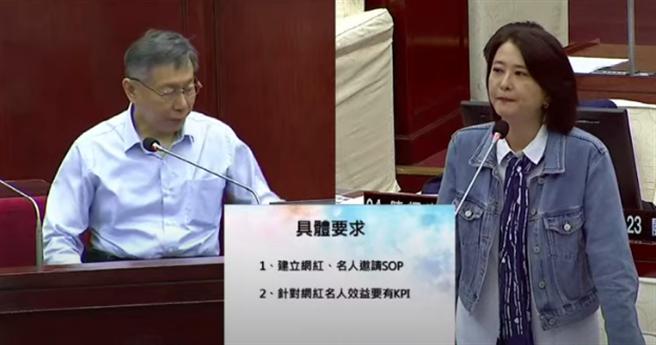 台北市長柯文哲(左)17日赴議會接受市政總質詢。(摘自柯P直播)