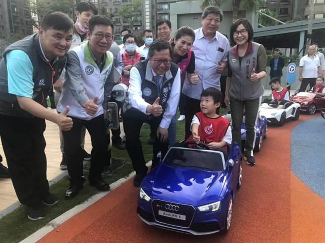 桃園首座兒童駕駛訓練公園啟用停車場免費停到年底。(呂筱蟬攝)