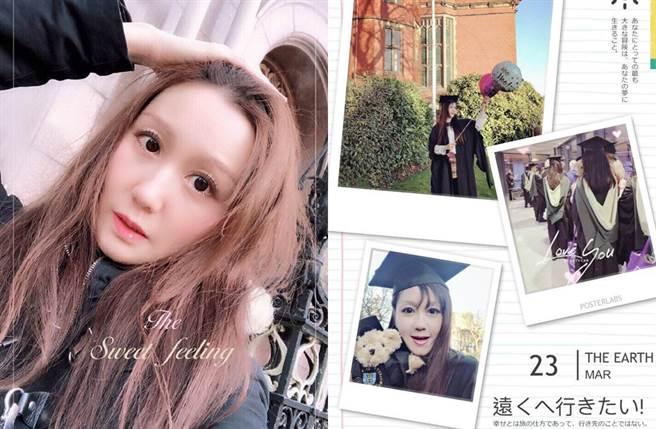 蔡慧敏現淡出演藝圈,去年拿到碩士學位。(圖/翻攝自微博)