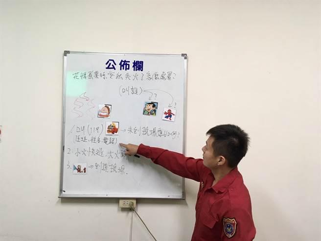 台南市消防局麻豆分隊自製卡通宣導卡成本300元,參訪小學生玩到欲罷不能。(台南市消防局提供/劉秀芬台南傳真)