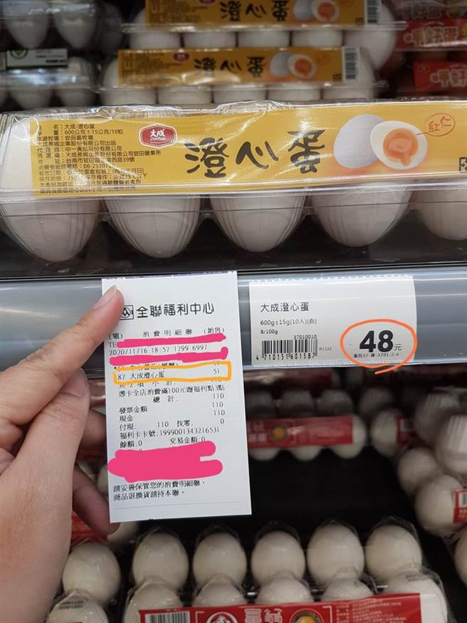 近日原PO到賣場內購買一盒雞蛋,截帳完看了購買明細才發現,實際上自己被收51元,會去告訴店員,才退回3元。(摘自我愛全聯-好物老實説)