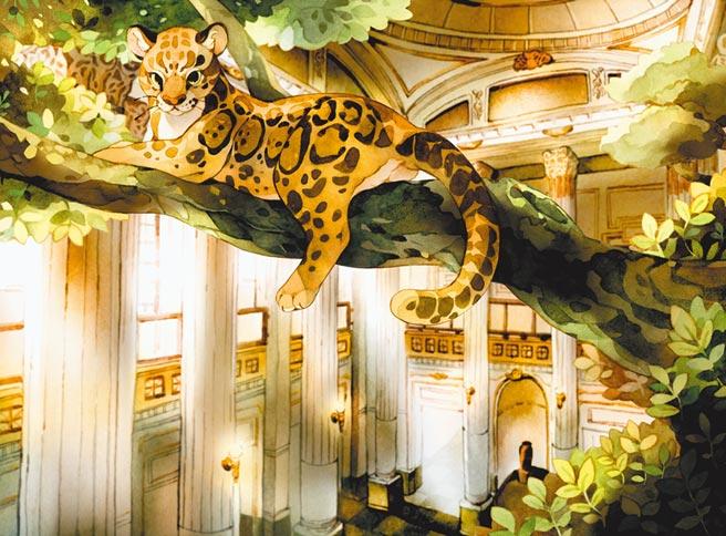 雲豹先生從叢林之王成為博物館的守護神。漢寶包參考台博館內部構造,描繪雲豹先生靈體所遊蕩的博物館。(蓋亞文化提供)