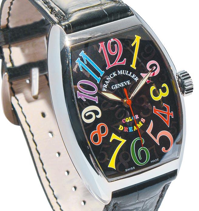 微风「BREEZEONLINE」FRANCK MULLER 7851 Cintree Curvex彩色数字白K金腕表,手工缝制鱷鱼皮表带,78万6000元。(微风提供)