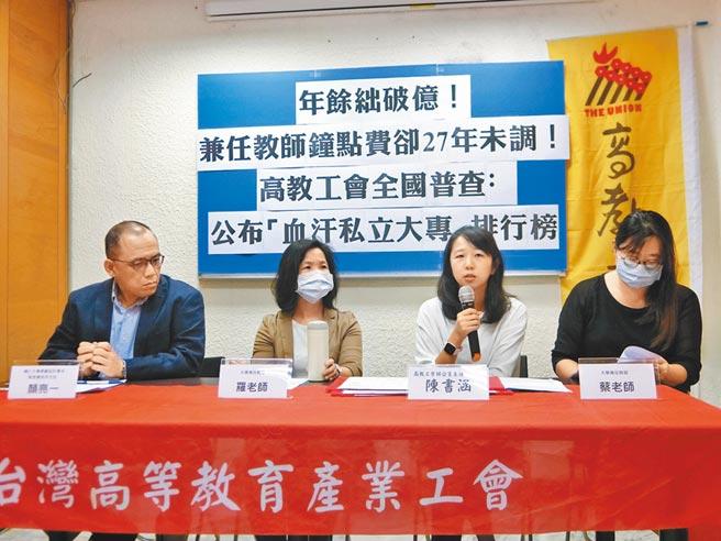 11月2日,台灣高等教育產業工會指控,近7成私立大專27年來未調漲兼任教師鐘點費。(高教工會提供)