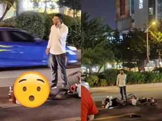 女騎士遭汽車撞倒地 側躺「神姿勢」讓網驚呆:這麼嫵媚?