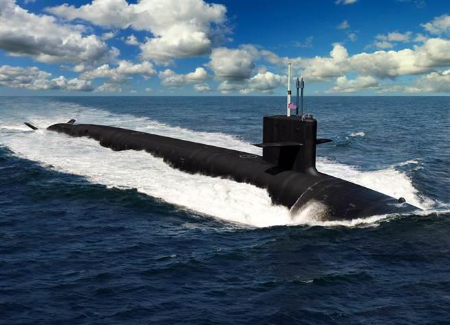 美國為2030年代打造的新一代潛艦預料大小和哥倫比亞級潛艦(見圖)差不多,但更隱形,更安靜,殺傷力也更強。(美國海軍)