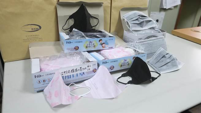 經濟部標檢局自市面上購得的豪品3D口罩,確認並非台灣製醫用口罩,而是以陸製非醫用口罩改包裝外盒後冒充。(資料照)