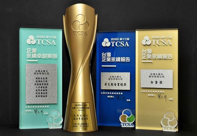台灣大哥大今年總計獲得10大獎項,包含十大永續典範企業、7項卓越案例及報告書等獎項,展現永續經營360度全面向的努力。(圖/台灣大哥大提供)