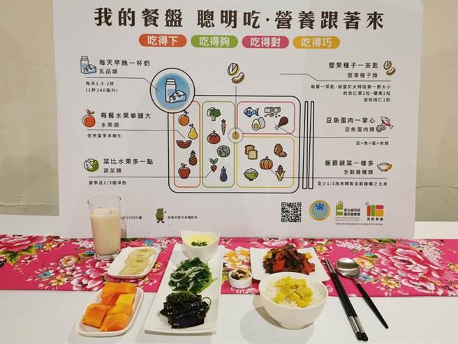 衛生局運用在地食材實作「我的餐盤」套餐,讓長者聰明吃,營養跟著來。(羅浚濱攝)