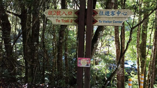 消防局近日在轄內各大登山步道入口加掛「119報案APP告示牌」,呼籲山友先下載APP再登山,以備不時之需。(苗栗縣消防局提供/巫靜婷苗栗傳真)
