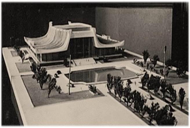 王大闳最初的设计可见映池、中轴双排树与今日不同。(国父纪念馆提供)