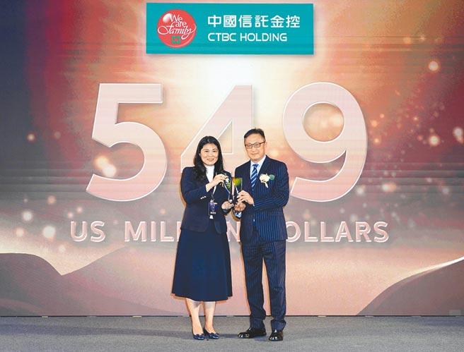 中信金控五度入圍「台灣國際品牌價值調查」25大國際品牌,由中信金控行政長高人傑(右)領獎。(中信金控提供)