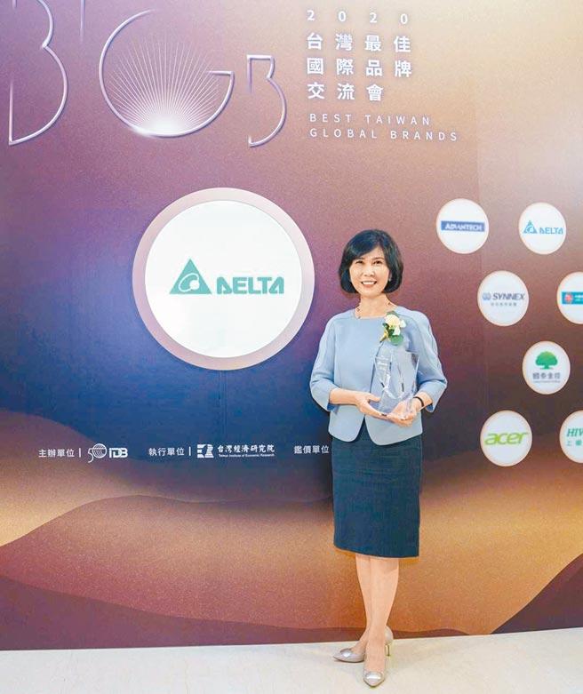 台達連續10年入選台灣最佳國際品牌,品牌長郭珊珊代表領獎。(圖:台達提供)