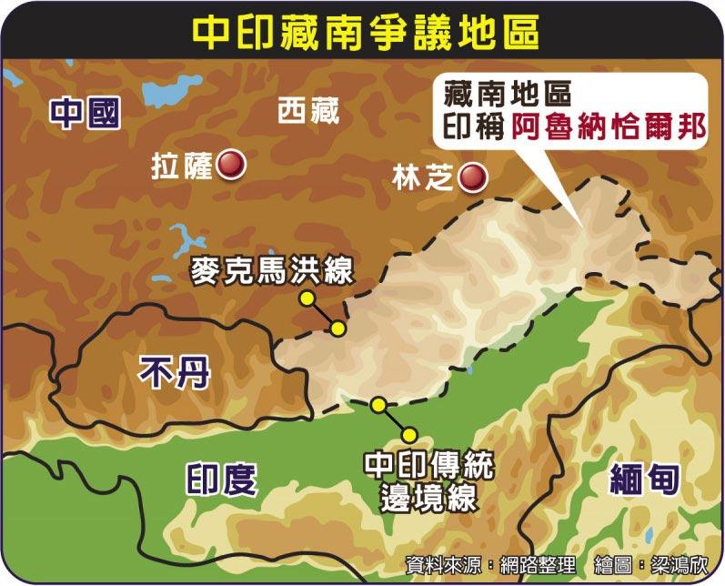 中印藏南爭議地區