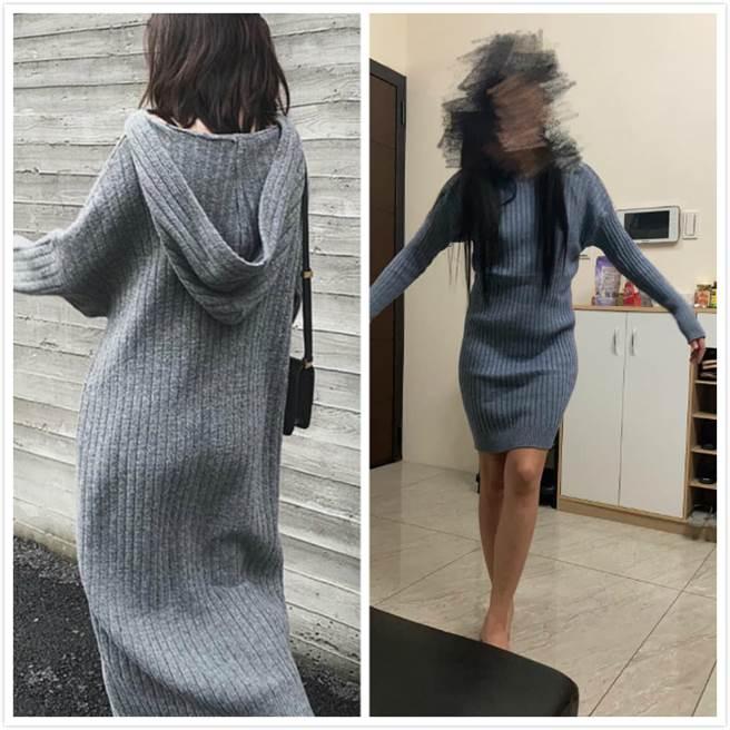 左為model示範圖,人妻穿上後崩潰,直說怎麼變緊身衣,大嘆臉書的商品不能信 (圖/爆怨2公社)