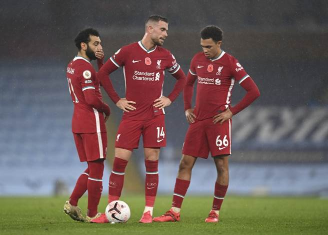 利物浦的整條主力防線本季全都進過傷病名單,右後衛阿諾正處在傷病的康復期。(美聯社資料照)
