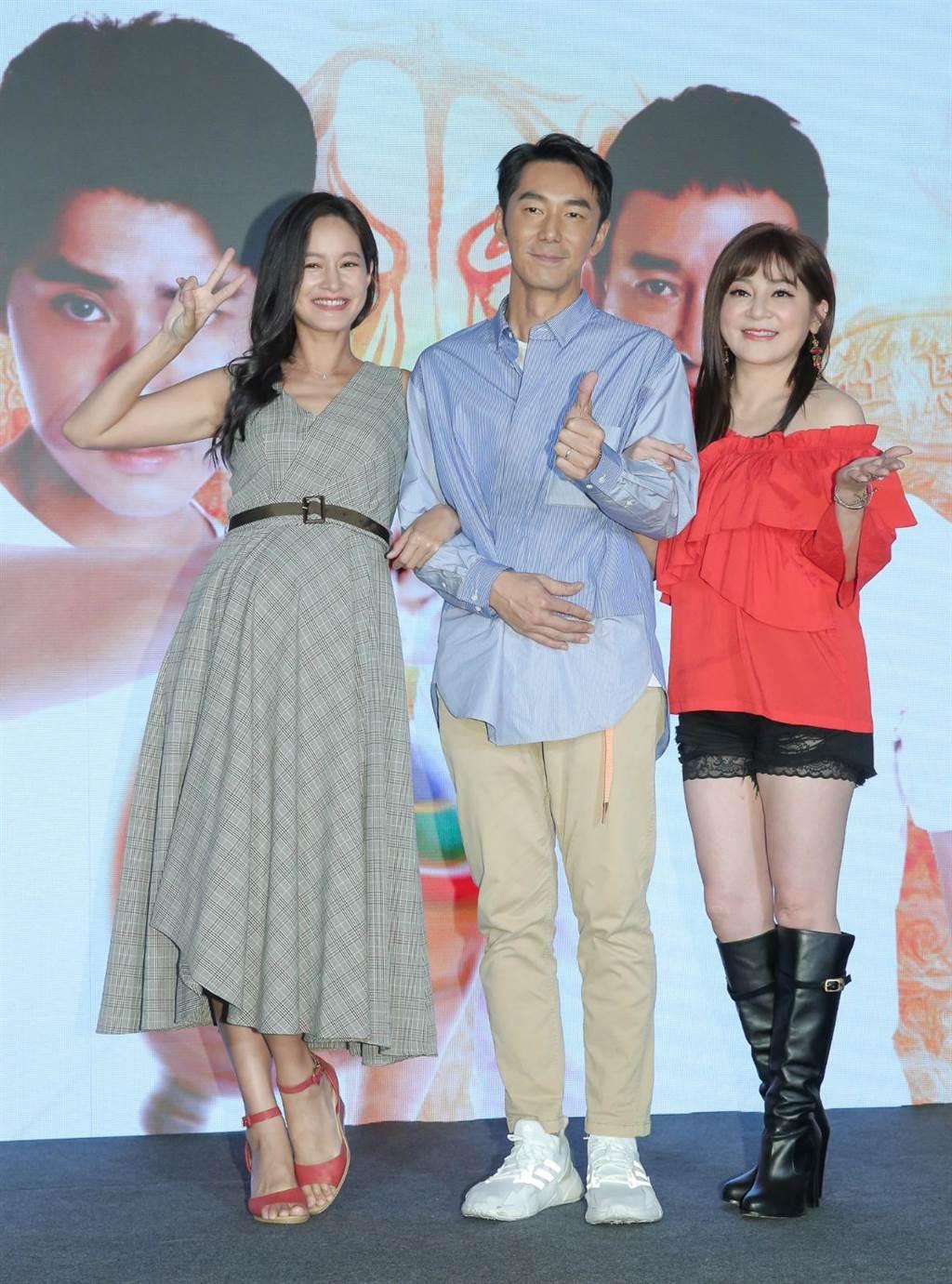 《神之乡》20日举行戏剧发布会,左起为Janet、李李仁、王彩桦。(卢祎祺摄)
