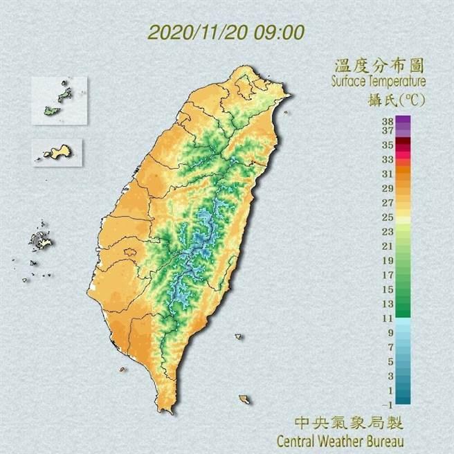 中央氣象局預報指出,今天白天新一道鋒面系統將通過北部海面,緊接著後方東北風將增強,中午過後大臺北地區、基隆北海岸及宜花地區的天氣將變得雲多有雨。(翻攝自中央氣象局/林良齊台北傳真)