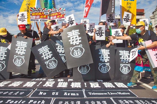 秋鬥團體19日前往凱道舉行誓師大會,現場也公布秋鬥年度代表字「毒」,總召黃德北表示,民進黨毒害土地、毒害家園、毒害言論自由。(杜宜諳攝)