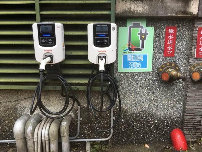 推動綠能交通,台中市環保局補助增設電動汽機車充電站。(環保局提供/林欣儀台中傳真)