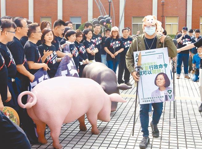 國民黨號召全民今走上街頭,反對民進黨開放萊豬進口,抗議政府一意孤行的政策。(本報資料照片)