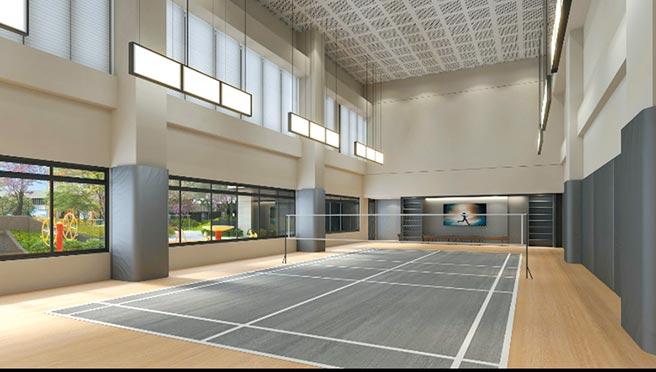 室內羽球場(3D示意圖)。