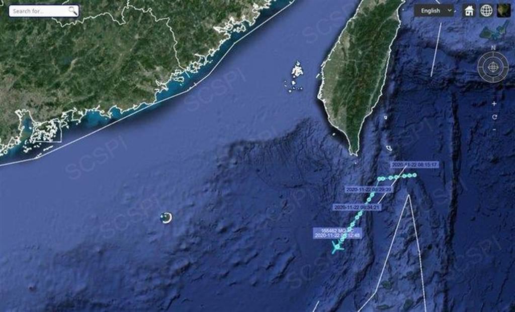 南海戰略態勢感知計畫指出,11月20日晚20時許,另有美國海軍1架MQ- 4C無人偵察機在非常規時間出動,前往廣東、福建近空、台灣海峽南部空域,進行高強度偵察。(圖/SCSPI)
