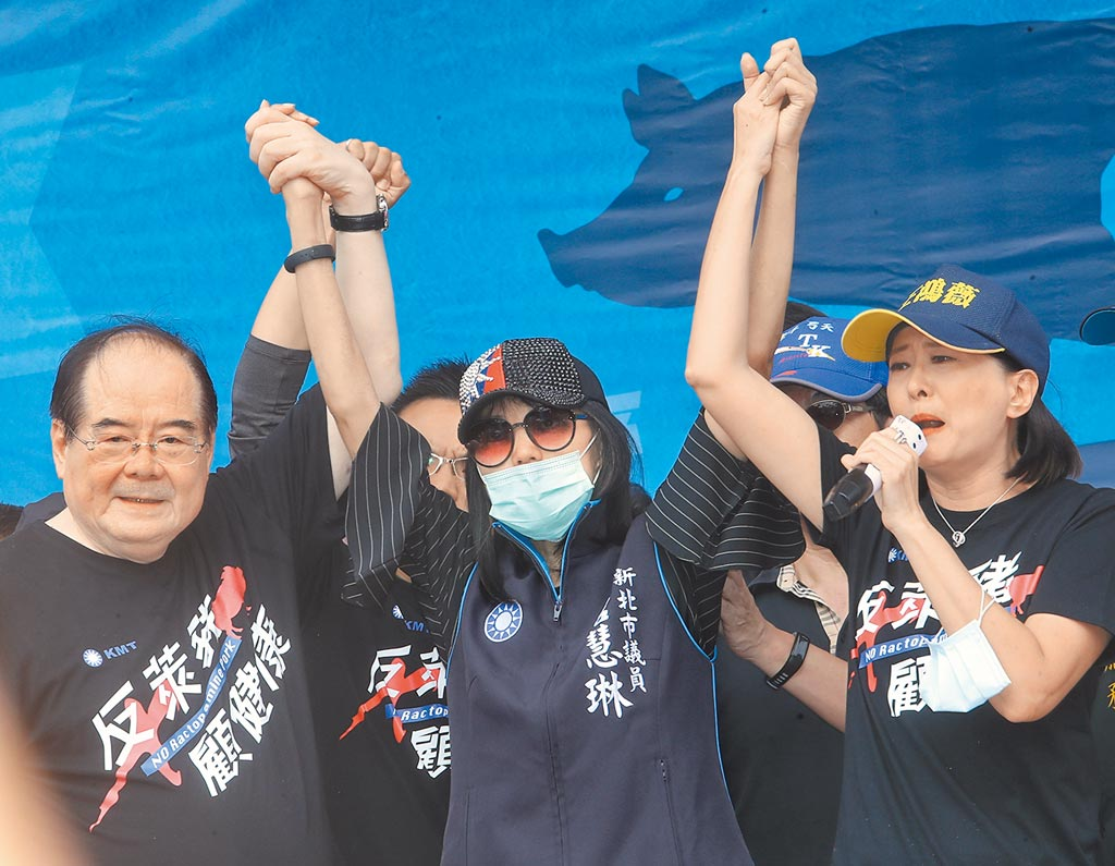 罹癌治療中的國民黨新北市議員唐慧琳(中)22日特別到秋鬥遊行現場,讓在場者為之動容。(劉宗龍攝)