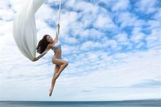 瑜珈界张柏芝Miya海上秀空中瑜珈 八层楼高玩命演出!