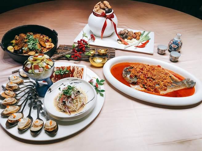大地酒店奇岩一號今年尾牙春酒採「一桌也成行」對策,另還有圍爐年菜與外帶服務。(大地提供)