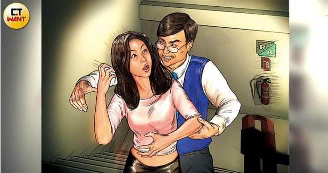 公視台語台當家主播吳國禎遭控要求受害人Amy一起到「秘密基地」,並趁機在無監視器的樓梯間對她進行肢體騷擾。(圖/本刊繪圖組)