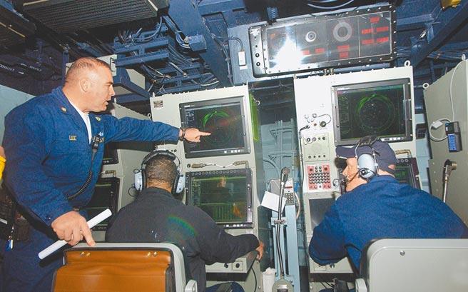 图为美国海军做声纳训练。(美联社)
